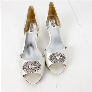Badgley Mischka White Satin Jeweled Wedding Heels